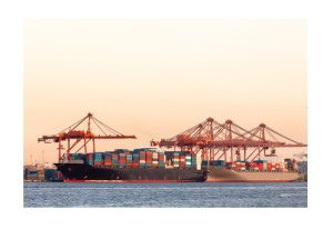 Cargo ships with containers at port